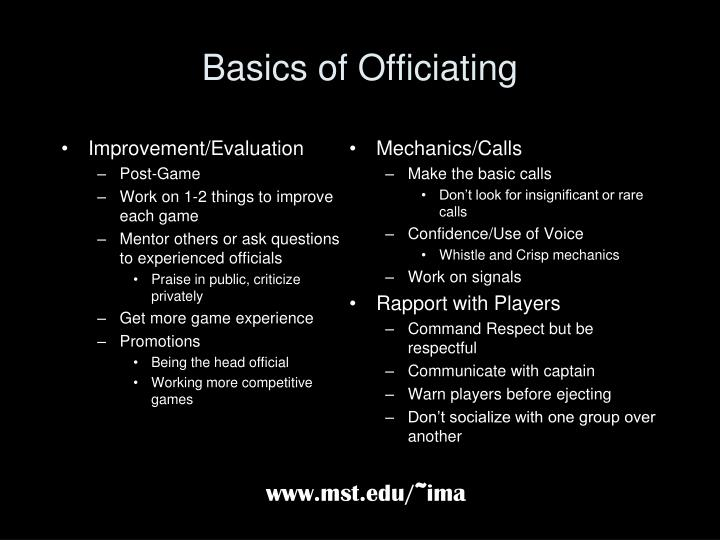 Basics of officiating1