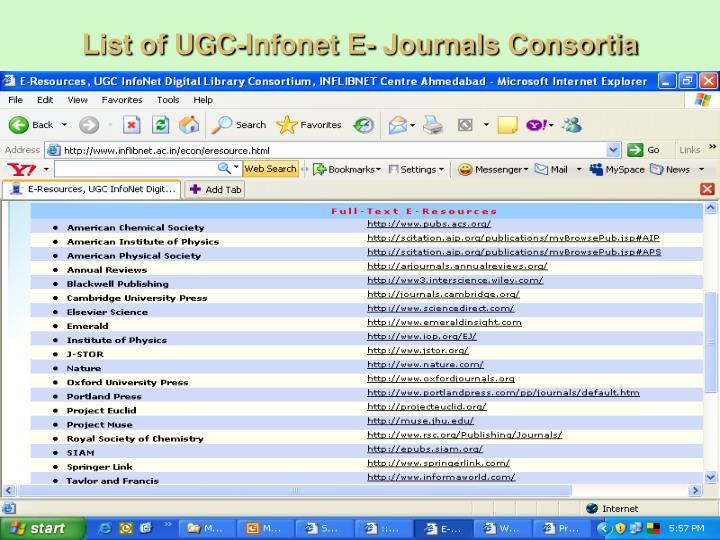 List of UGC-Infonet E- Journals Consortia
