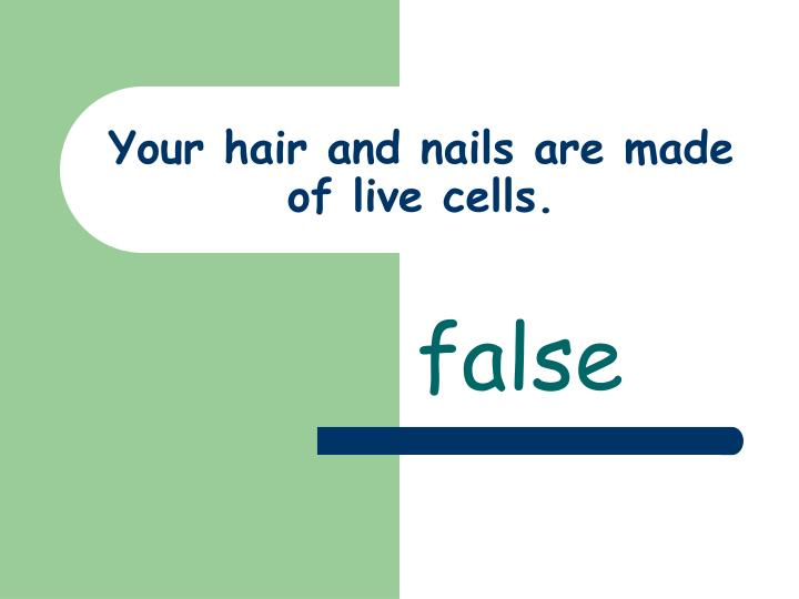 Your hair and nails are made of live cells.
