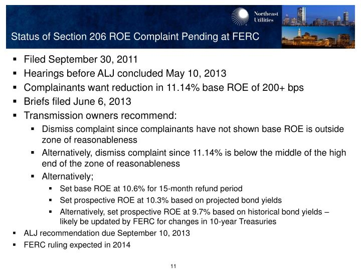 Status of Section 206 ROE Complaint Pending at FERC