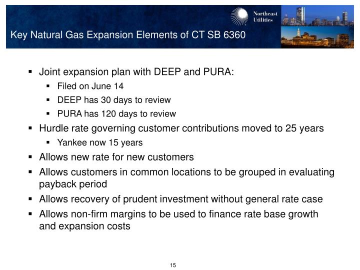 Key Natural Gas Expansion Elements of CT SB 6360