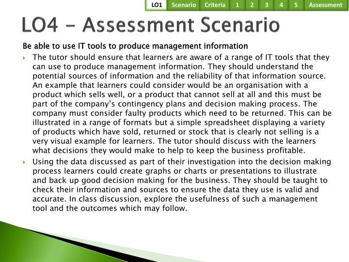 LO4 - Assessment Scenario