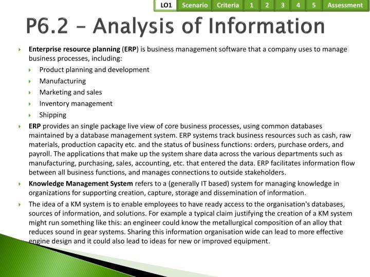 P6.2 – Analysis of Information