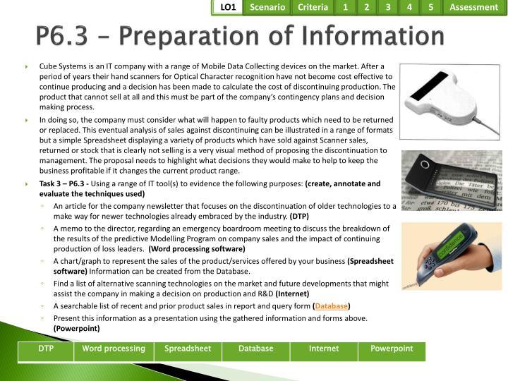 P6.3 – Preparation of Information