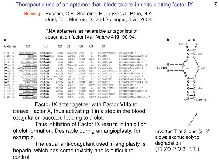 Therapeutic use of an aptamer that  binds to and inhibits clotting factor IX