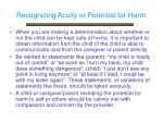 recognizing acuity or potential for harm
