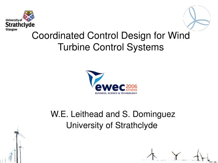 coordinated control design for wind turbine control systems n.