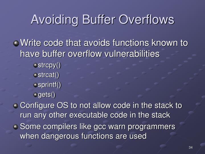 Avoiding Buffer Overflows