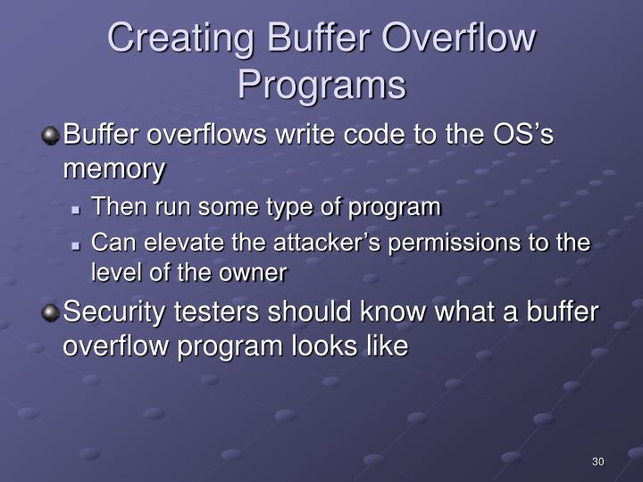 Creating Buffer Overflow Programs