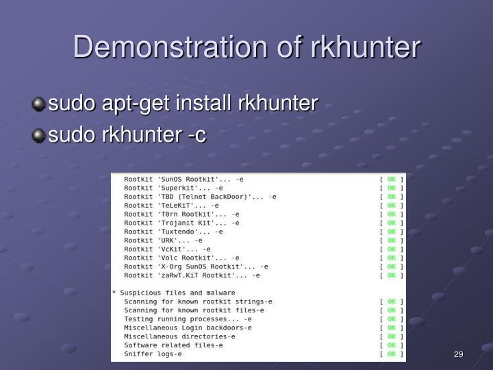 Demonstration of rkhunter