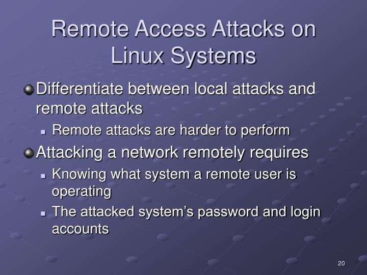 Remote Access Attacks on Linux Systems