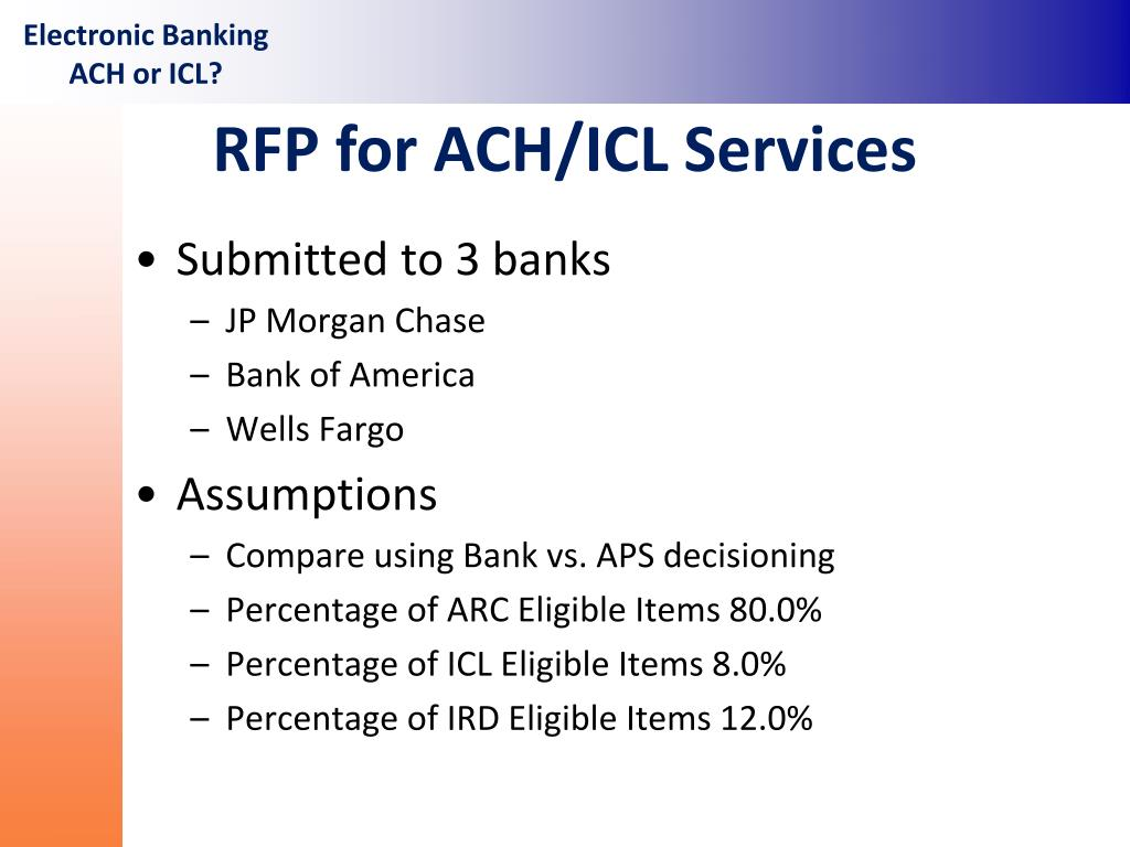 PPT - Electronic Banking ACH or ICL? PowerPoint Presentation