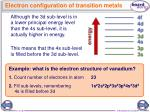 electron configuration of transition metals