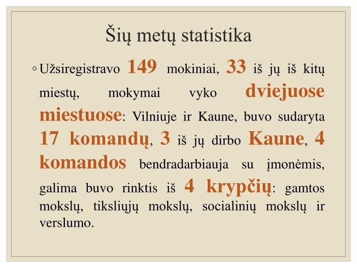 Šių metų statistika
