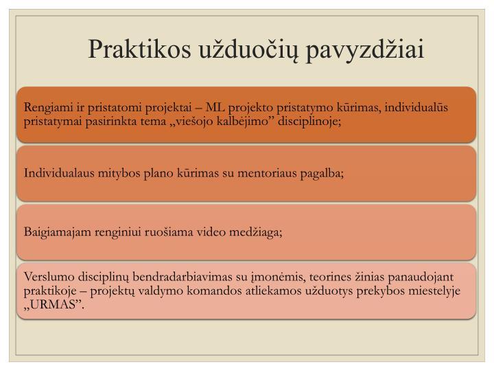 Praktikos užduočių pavyzdžiai