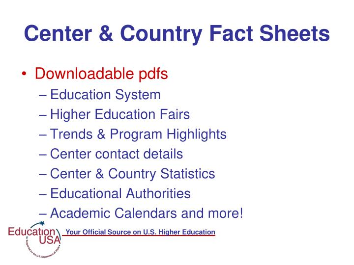 Center & Country Fact Sheets