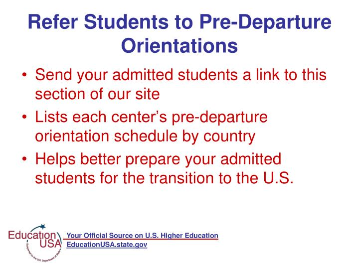 Refer Students to Pre-Departure Orientations