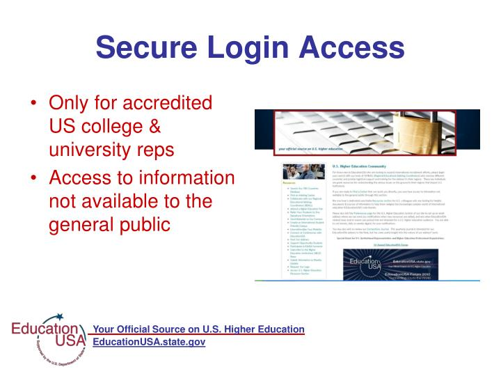 Only for accredited US college & university reps