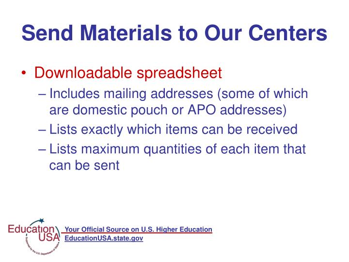 Send Materials to Our Centers