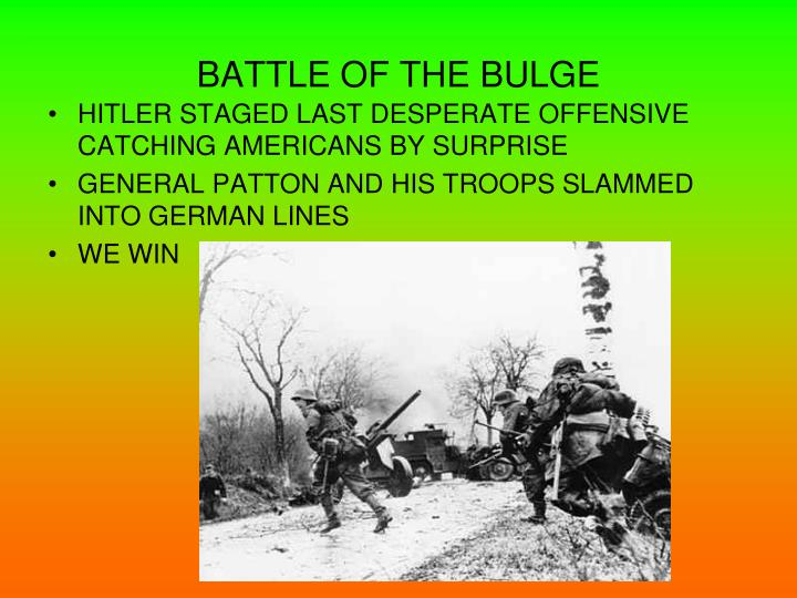 win in the battle at the bulge gave germans an edge The game covers that latter part of the bulge campaign (1944) when german forces came closest to the meuse river  has the town of hotton at its edge, so we have.