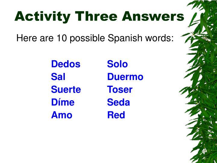 Activity Three Answers