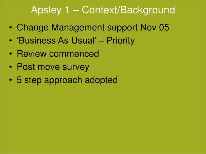 Apsley 1 context background
