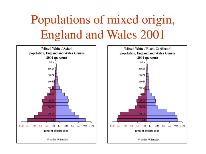 Populations of mixed origin, England and Wales 2001