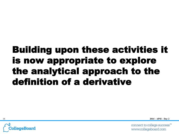 Building upon these activities it is now appropriate to explore the analytical approach to the definition of a derivative