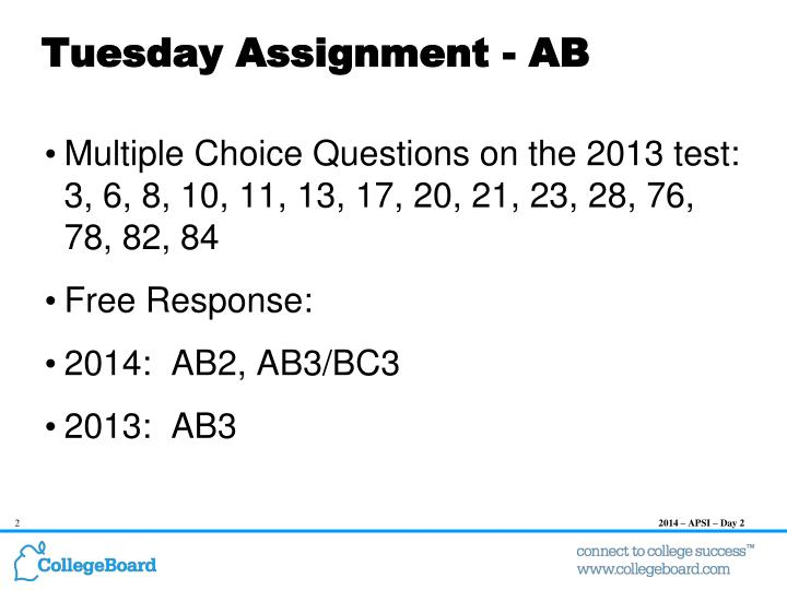 Tuesday assignment ab