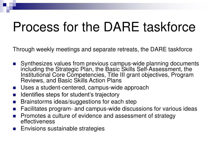 Process for the DARE taskforce