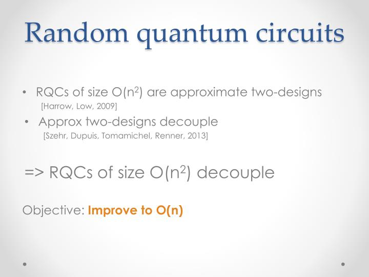 Random quantum circuits