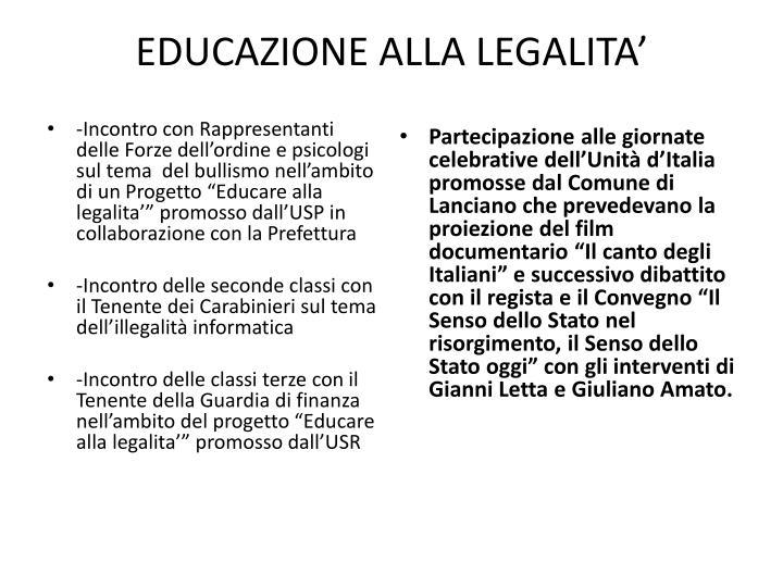 EDUCAZIONE ALLA LEGALITA'