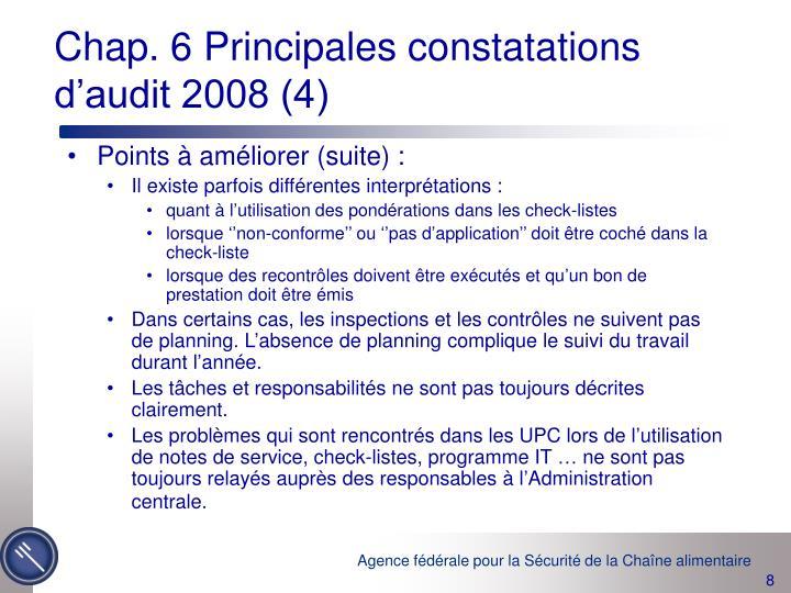 Chap. 6 Principales constatations d'audit 2008 (4)