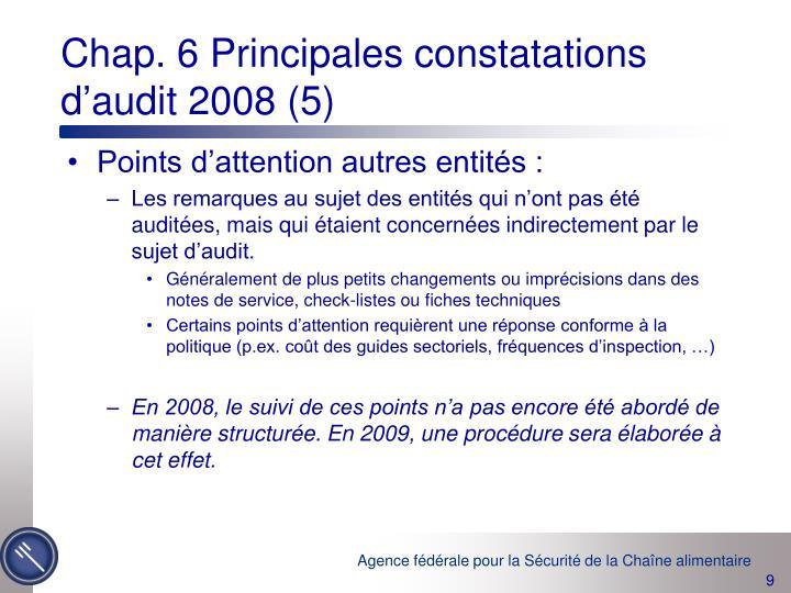 Chap. 6 Principales constatations d'audit 2008 (5)