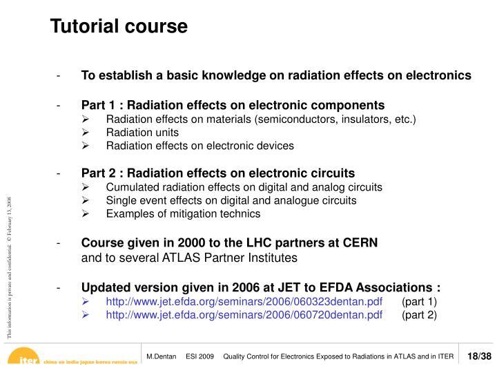 Tutorial course