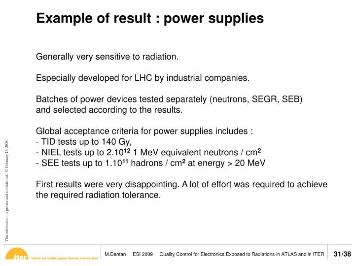 Example of result : power supplies