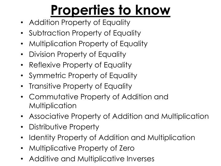 Properties to know