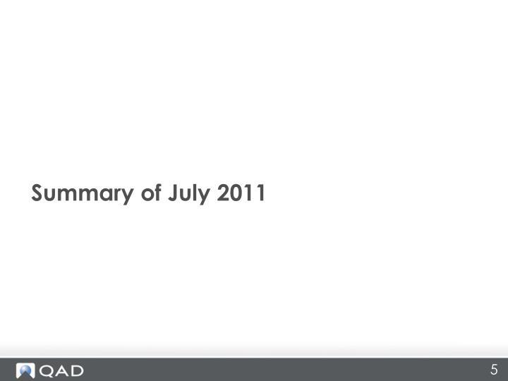Summary of July 2011