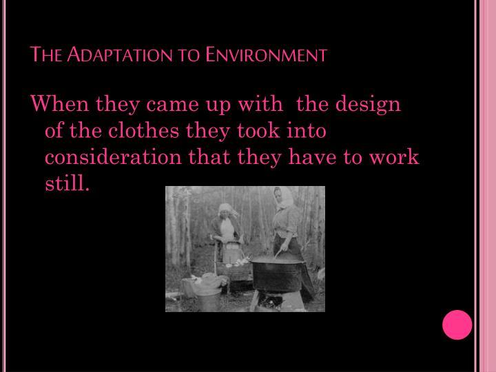 The Adaptation to Environment