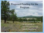 proposed funding for the program