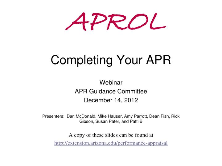 aprol completing your apr n.
