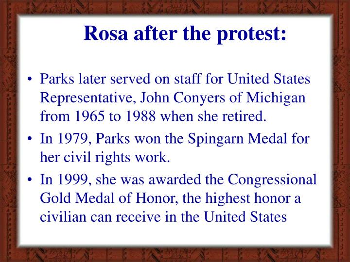 Rosa after the protest: