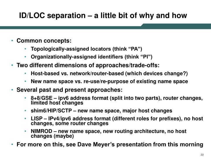 ID/LOC separation – a little bit of why and how