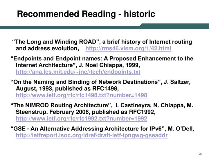 Recommended Reading - historic