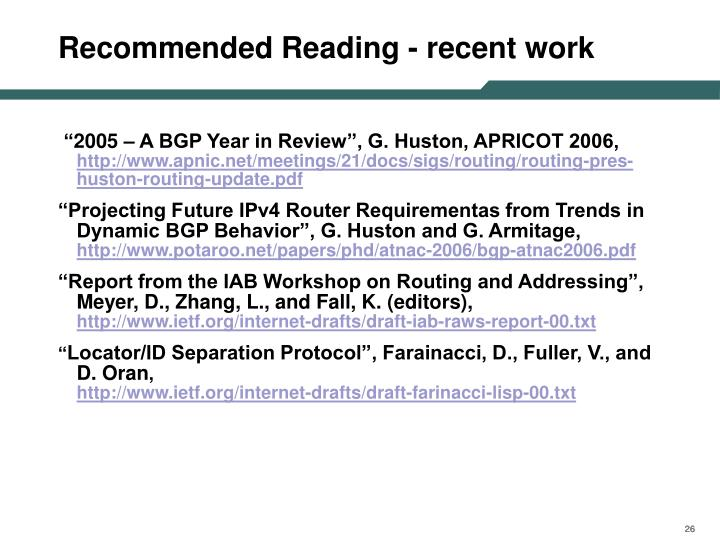 Recommended Reading - recent work