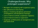 challenges threats why prolonged suspensions