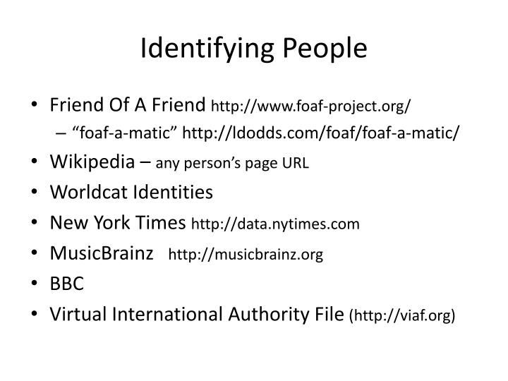 Identifying People