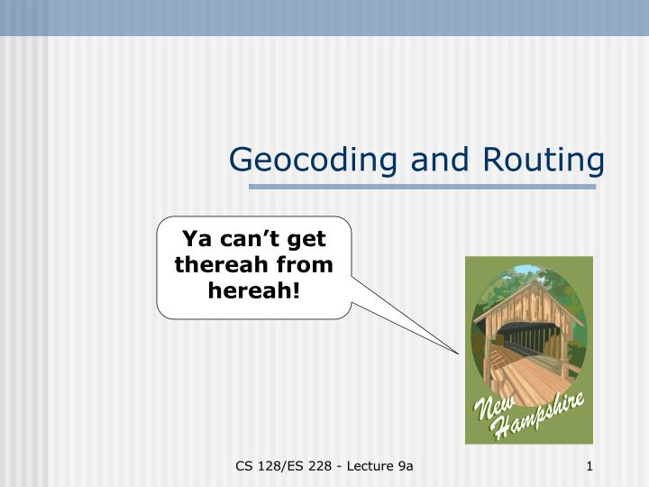 geocoding and routing n.