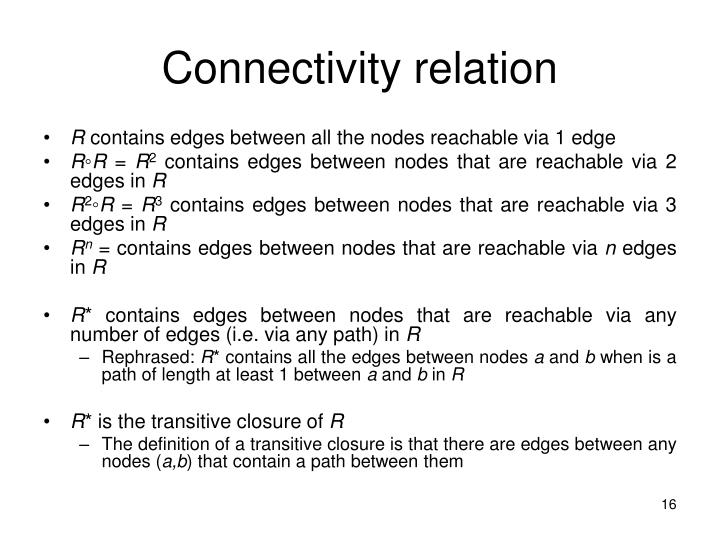 Connectivity relation