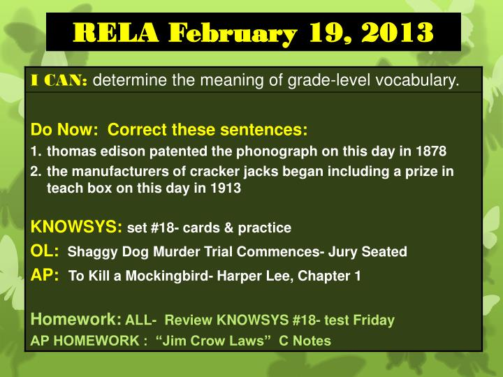 RELA February 19, 2013